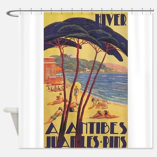 French Riviera Vintage Travel Poste Shower Curtain