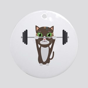 Fitness cat weight lifting Round Ornament