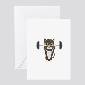Weight loss greeting cards cafepress fitness cat weight lifting greeting cards m4hsunfo
