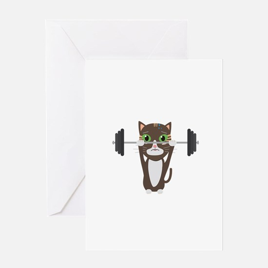 Fitness cat weight lifting Greeting Cards