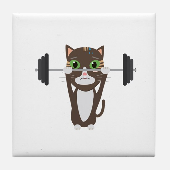 Fitness cat weight lifting Tile Coaster