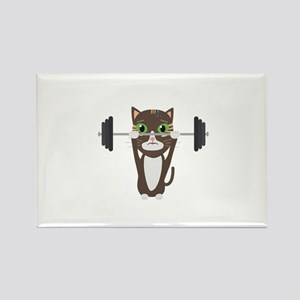 Fitness cat weight lifting Magnets