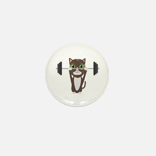 Fitness cat weight lifting Mini Button