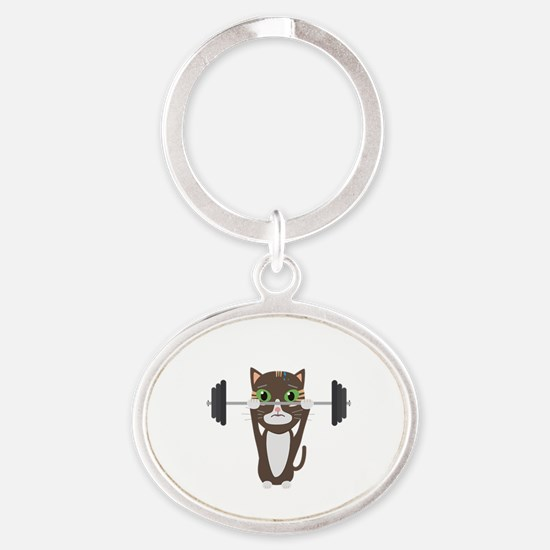 Fitness cat weight lifting Keychains