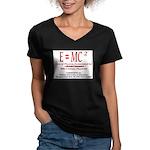 E=MC2 Women's V-Neck Dark T-Shirt
