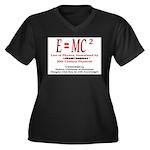 E=MC2 Women's Plus Size V-Neck Dark T-Shirt