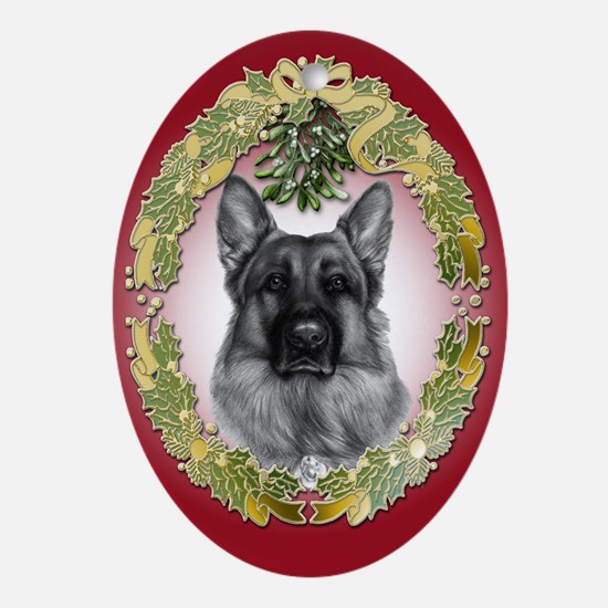 German Shepherd K9 Christmas Oval Ornament