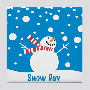 Snowman Snow Day Tile Coaster