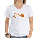 Powered By Cheesy Puffs Women's V-Neck T-Shirt
