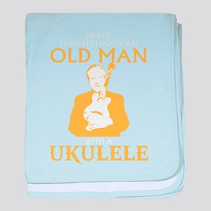 Old man with a ukulele baby blanket