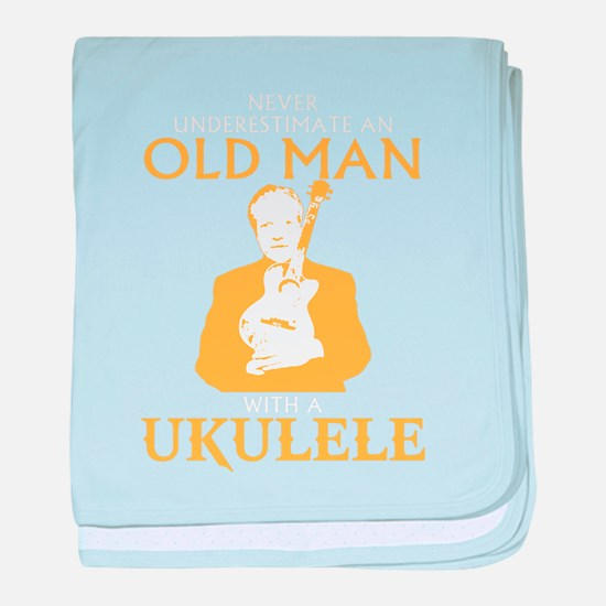 Old man with a ukulele baby blanket