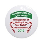 First Twins' Christmas Ornament (Round)