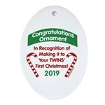 First Twins' Christmas Oval Ornament