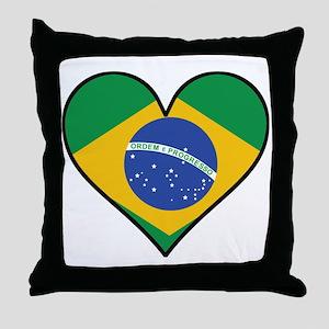 Brazilian Flag Heart Throw Pillow
