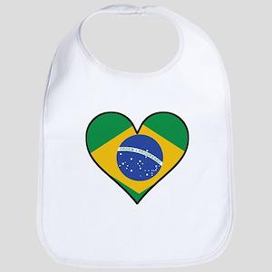 Brazilian Flag Heart Baby Bib