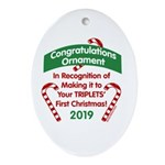 First Triplets Oval Ornament