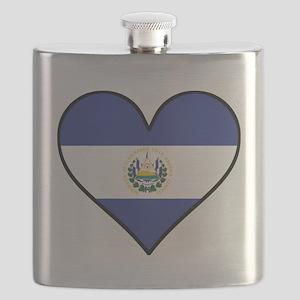 El Salvadorian Flag Heart Flask