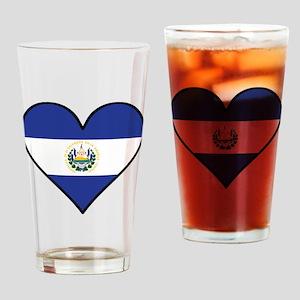 El Salvadorian Flag Heart Drinking Glass