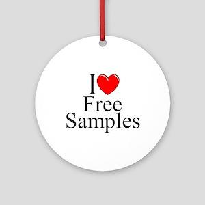 """I Love Free Samples"" Ornament (Round)"