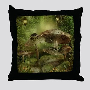 Enchanted Mushrooms Throw Pillow