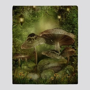Enchanted Mushrooms Throw Blanket
