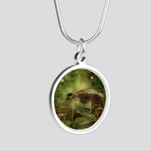 Enchanted Mushrooms Silver Round Necklace