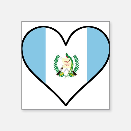 Guatemalan Flag Heart Sticker