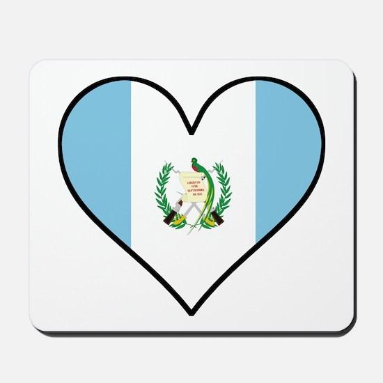 Guatemalan Flag Heart Mousepad