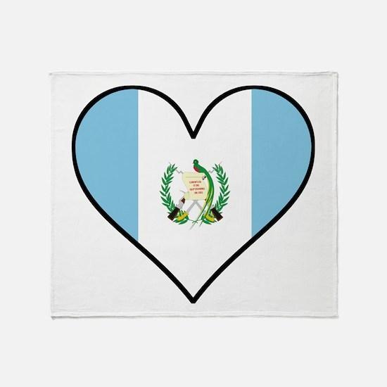 Guatemalan Flag Heart Throw Blanket