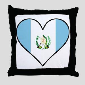 Guatemalan Flag Heart Throw Pillow