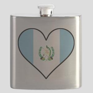 Guatemalan Flag Heart Flask