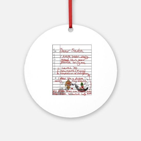 Geek Gamer Santa List Ornament (Round)