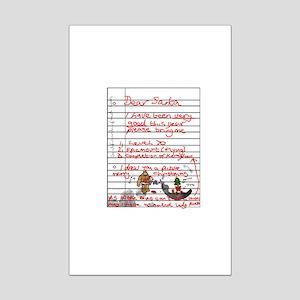 Geek Gamer Santa List Mini Poster Print