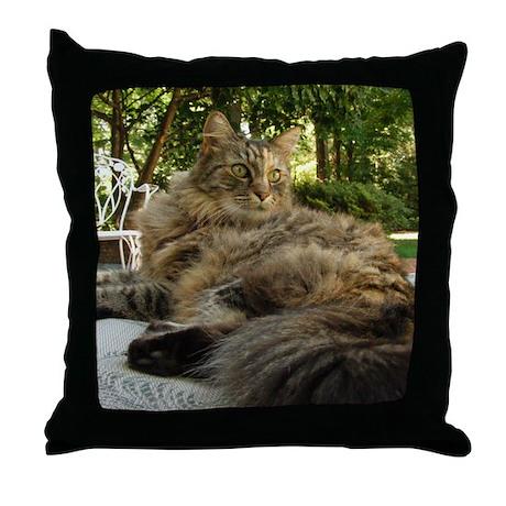 Maine Coon cat bushy tail Throw Pillow