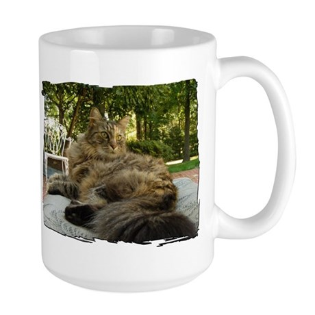 Maine Coon cat bushy tail Large Mug