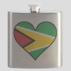 Guyanese Flag Heart Flask