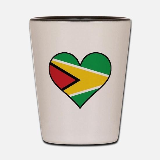Guyanese Flag Heart Shot Glass