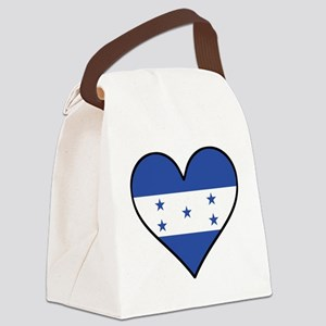 Honduran Flag Heart Canvas Lunch Bag