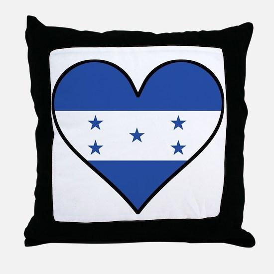 Honduran Flag Heart Throw Pillow