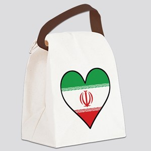 Iranian Flag Heart Canvas Lunch Bag