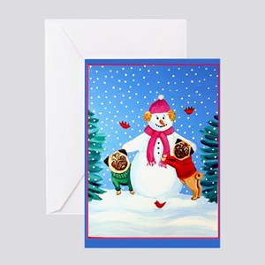 Pugs Frosty's Helpers Greeting Card