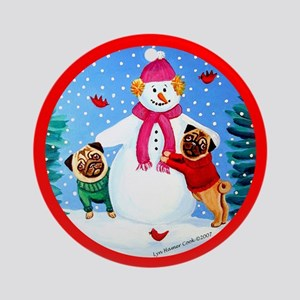 Pugs Frosty's Helpers  Ornament (Round)
