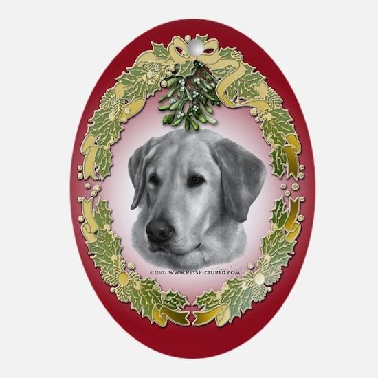 Yellow Lab Christmas Oval Ornament