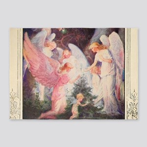 Angels Christmas Tree 5'x7'Area Rug