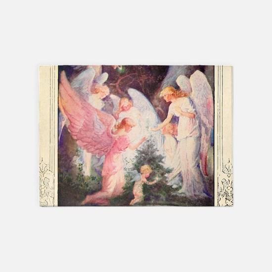 Angels Christmas Tree 5'x7'Area Rug