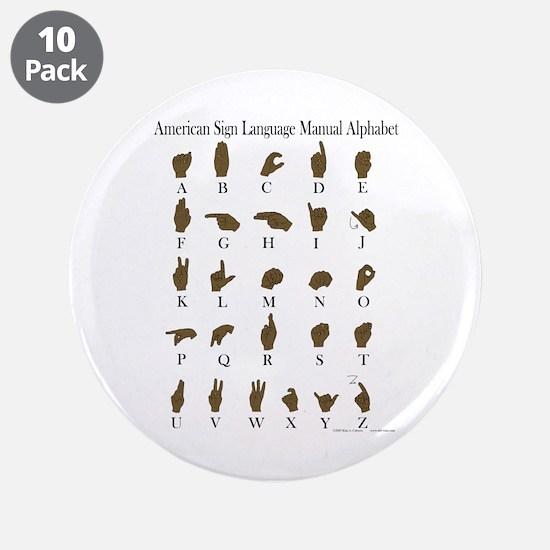 """ASL Alphabet 3.5"""" Button (10 pack)"""