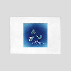 Love & Butterflies (Blue) 5'x7'Area Rug