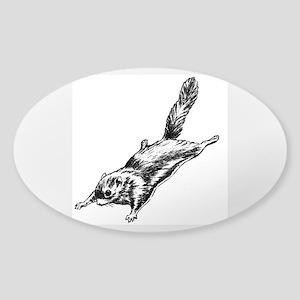 Flying Squirrel Illustration Sticker (Oval)