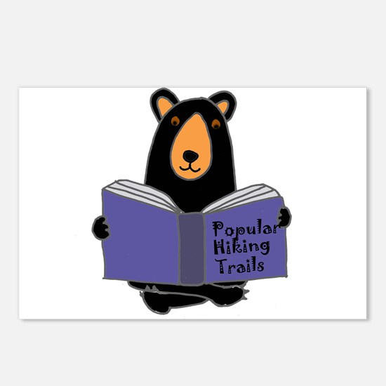 Bear Reading Hiking Book Postcards (Package of 8)