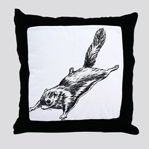 Flying Squirrel Illustration  Throw Pillow